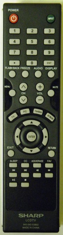 SHARP NQP84504503B02 (845-045-03B02) Remote Control